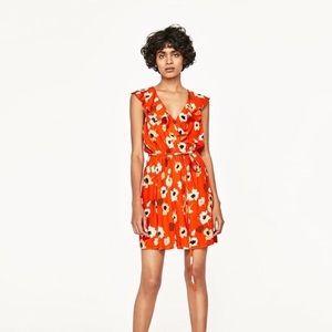 Zara ~ Floral Wrap Crossover Mini Dress